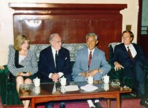 Mrs. Sackler, Dr. Sackler, Dr. Ding Shisun and U.S. Ambassador Winston Lord