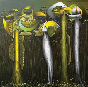 Nicolas Herrera. Deep Forest, 2017. Oil on canvas. 200 x 200 cm.