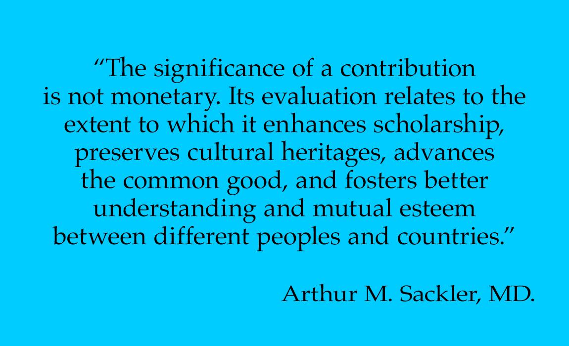 Dr. Arthur M. Sackler on Contributions